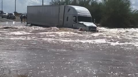 Truck Takes on Floodwaters