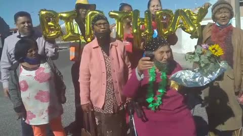 Ouma treats the homeless for her 84th birthday celebration