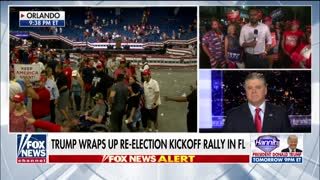 Hannity host speaks to Trump supporters outside Orlando rally