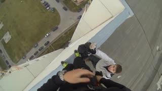 BASE jump. Прыжок с 17 этажного дома.