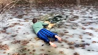 Golden Retriever Saved from Frozen Murky Pond