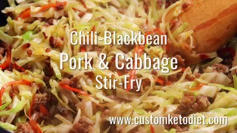 Keto Chili-Blackbean Pork Cabbage Stir-Fry