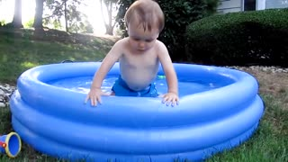 Funny Baby Playing With Water - Baby Outdoor Video 2021