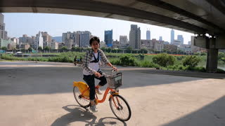 Standing and riding a bicycle
