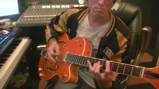 Stray cats rock this town guitar