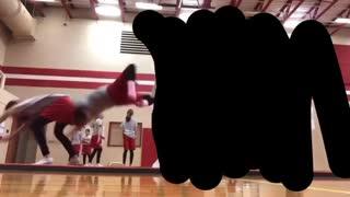 Girl back flips into other girl