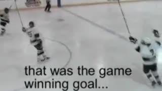 Hockey team can't believe winning goal?!