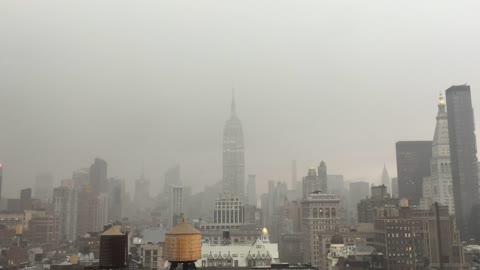 Lightning strikes Empire State Building