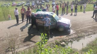 Rally Driver Cartwheels Car