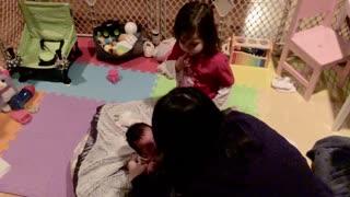 Newborn Has Interesting Response to Sibling's Hug