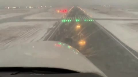 This is seen by the pilot landing during the snowstorm