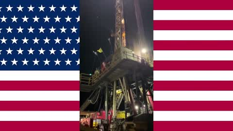 """""""TEXAS OIL FOR TRUMP"""" - Oil Rigs with American Flags - Texas Country - Texas Oil Rigs Support Trump"""