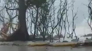 massive waves with hurricane