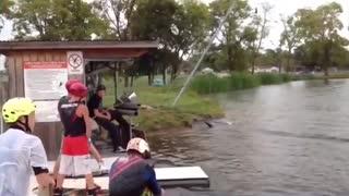 Man falls into water