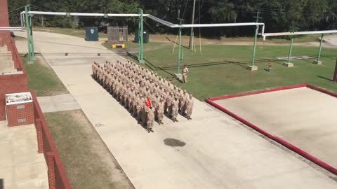 Platoon Of Marines Performs Flawless Trick Drill