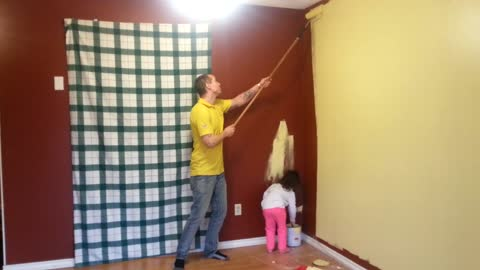 """Daddy & Daughter Team """"work it"""" to painting"""