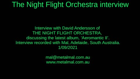 20210901 THE NIGHT FLIGHT ORCHESTRA interview