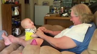 Baby talking to Grandma - surprise ending!