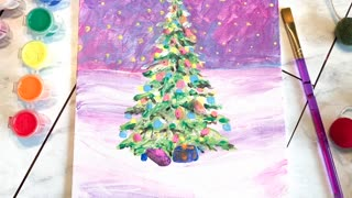 Elementary Age Art Tutorial Chistmas Tree Acrylic Painting