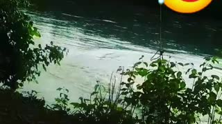 Guys foot gets stuck on rope swing gets slammed into water