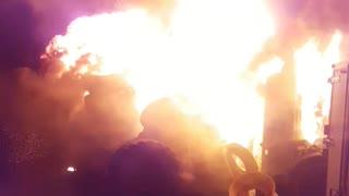 Firefighter films raging farm fire