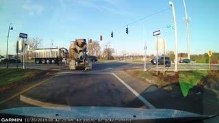 Cement Truck Slams Red Light Runner