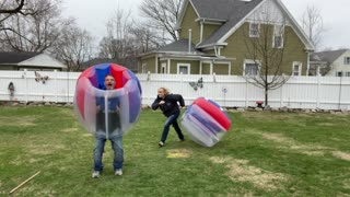 Couple Engage in Bouncy Duel during Quarantine