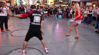 People having fun at the Fremont street downtown Las Vegas.