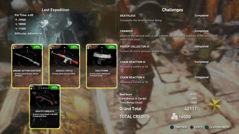 Rise of the Tomb Raider PS4 DLC Score Attack, Lost Expedition, maximum 81 items collection combos