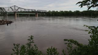 The Missouri River flowing in St. Charles Missouri