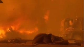 CA FIREFIGHTERS BARLEY ESCAPE MASSIVE FIRE