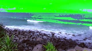 Green Screen Burleigh heads Surf Breaking on Rocks