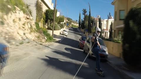 Longboard skitching in beautiful Cyprus