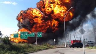 Fuel Tanker Fire Engulfs Highway