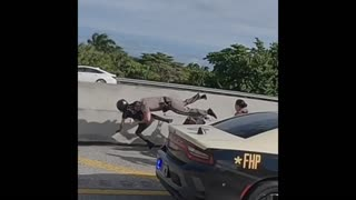 Florida State Trooper takes down motorcyclist in a large group of illegal riders on highway