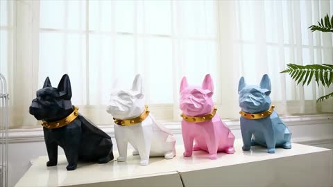 Abstract Frenchie Decorative Resin Tissue Box Statue