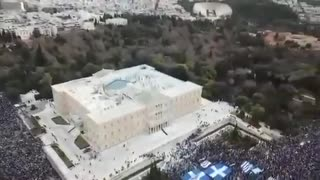 Aerial shot shows massive demonstration against COVID vaccination in Greece.