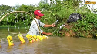 Believe This Fishing_ New Fishing Technique Trap Using 10 Bottles & 10 Hooks To Catch Alot Of Fish