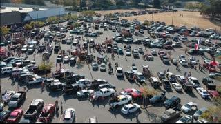 Northern California Trump Car Rally Drone veiw