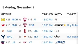 This Weekend COLLEGE FOOTBALL SCHEDULE