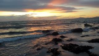 The Beautiful Calming Irish Sea against the Snowdonia National Park Backdrop : 4K