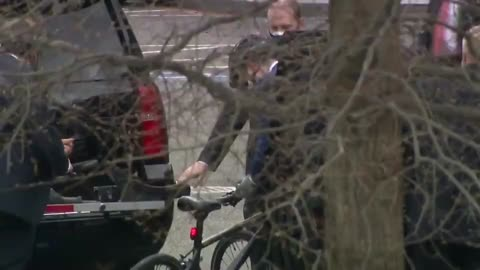 Caring for the environment. Pete Buttedgeedge gets drop close then rides with an armed detail.