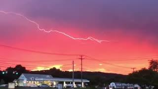 Serendipitous Lightning Strike During Splendid Sunset
