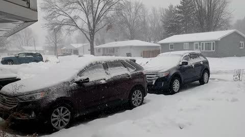 Winter Storm on 4 Feb 2021 Davenport Iowa recorded using RING video camera