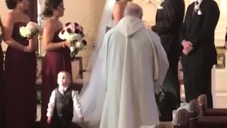 Funny kids at a wedding