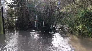 Shrewsbury resident shows flooding from Storm Cristoph in UK