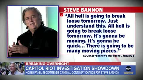 Committee investigating Jan. 6 riot recommends holding Steve Bannon in contempt l