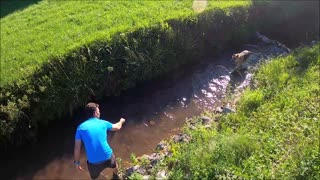Man Playing With His Dog In The Stream