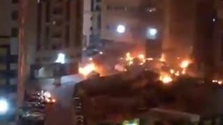Massive fire in tower in Shrajah, UAE