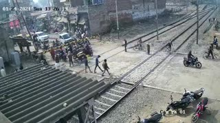 Speeding train spares man-in-hurry but smashes his motorcycle into pieces in India